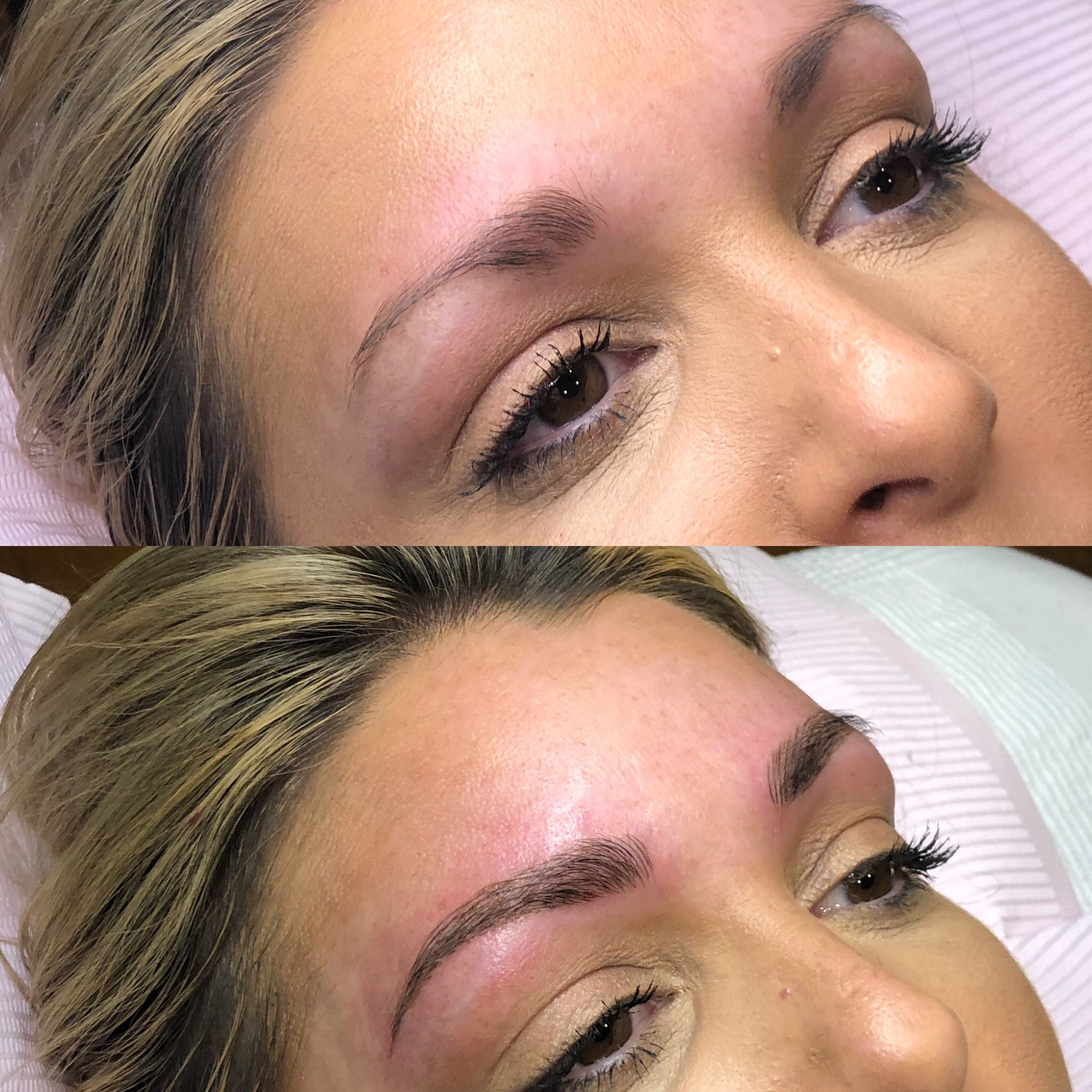 feather stroke brows before and after beauty and bronze